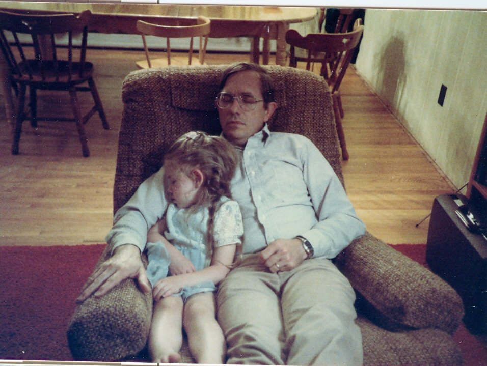 1985 Steve and Kathy sleeping in chair