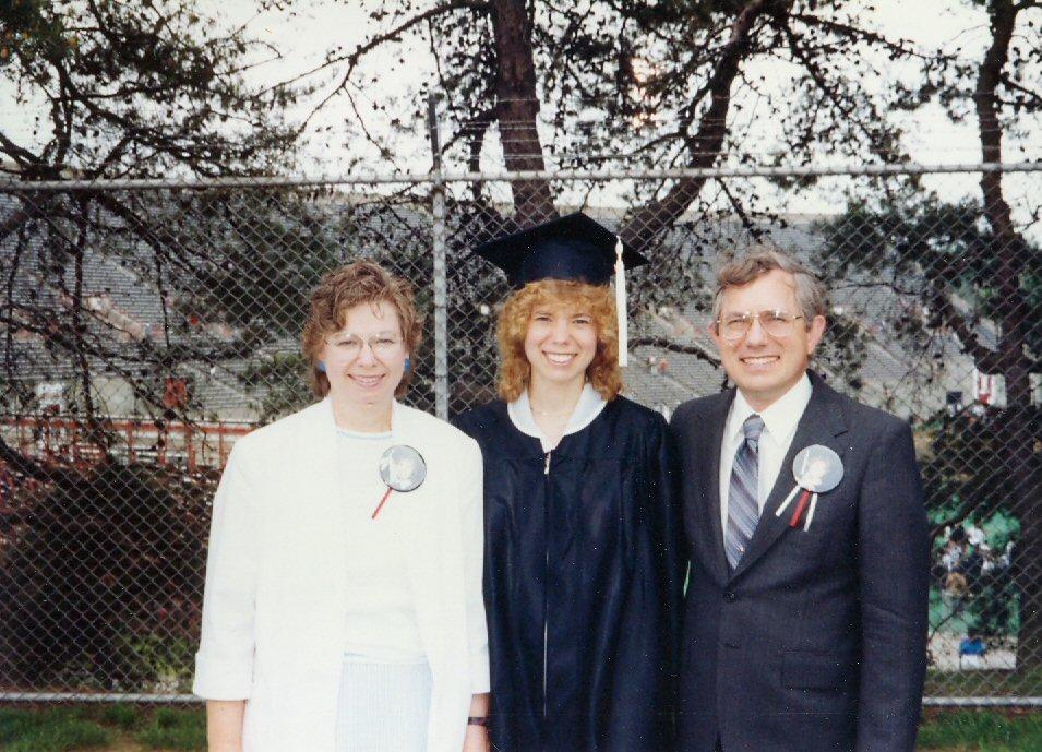 1991 Steve and Evy with Stephanie at graduation